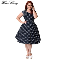 1950s Dot Printing Ball Gown Rockabilly Dress Women Casual Short Sleeve Elegant Vintage Party Dress Summer V Neck Plus Size 9XL