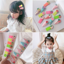 Jolly S 2-5pcs/set Korean Quicksand Fruit Hair Clip For Baby Girl Kids Children Snap Side Hairpin Girls Accessories