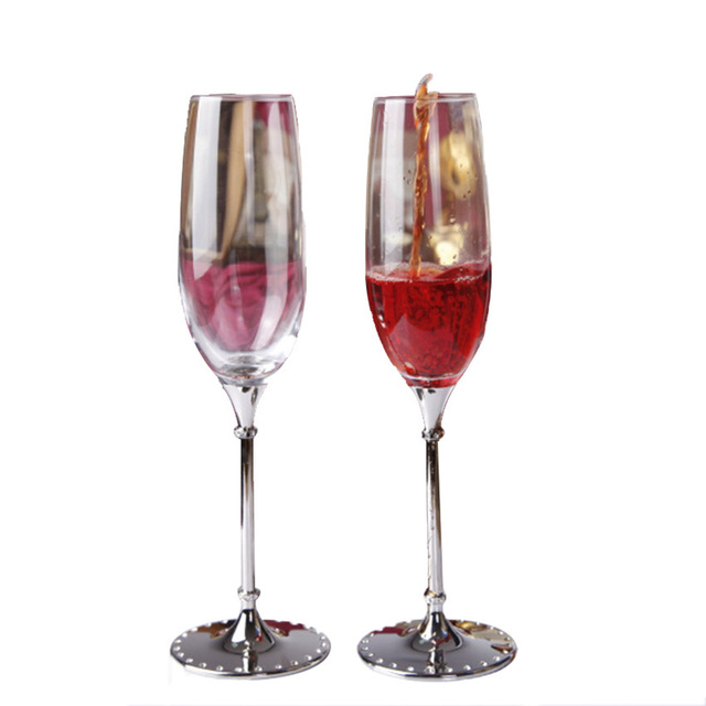 GFHGSD 250ml Champagne Flutes Wine Glass Crystalline Luxury Wedding Party  Toasting Glasses Goblet Crystal Rhinestones Design