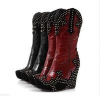 Зимние высококачественные модные замшевые патч кожа клин сапоги на высоком каблуке повседневная обувь, увеличивающая рост женские золотые