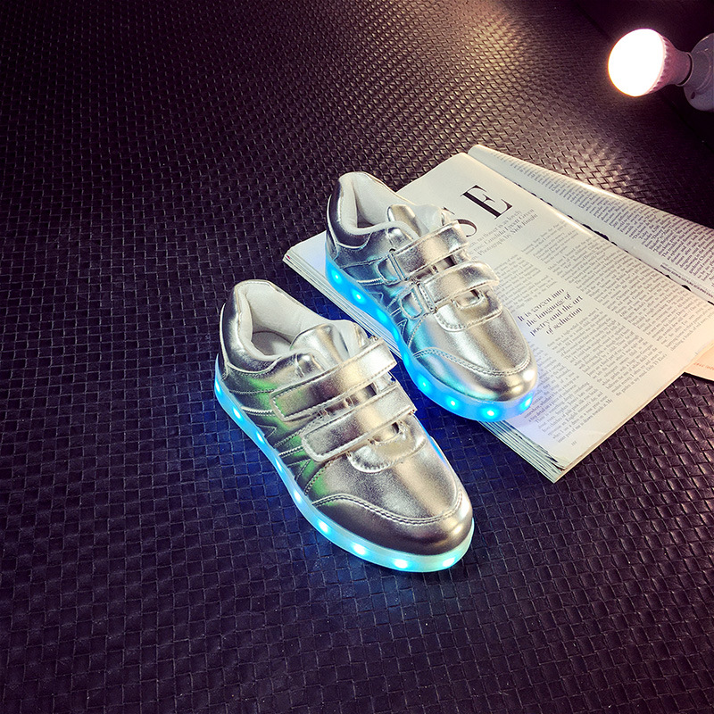 Quality 7 Colors USB illuminated krasovki luminous sneakers glowing kids shoes children led light up Golden
