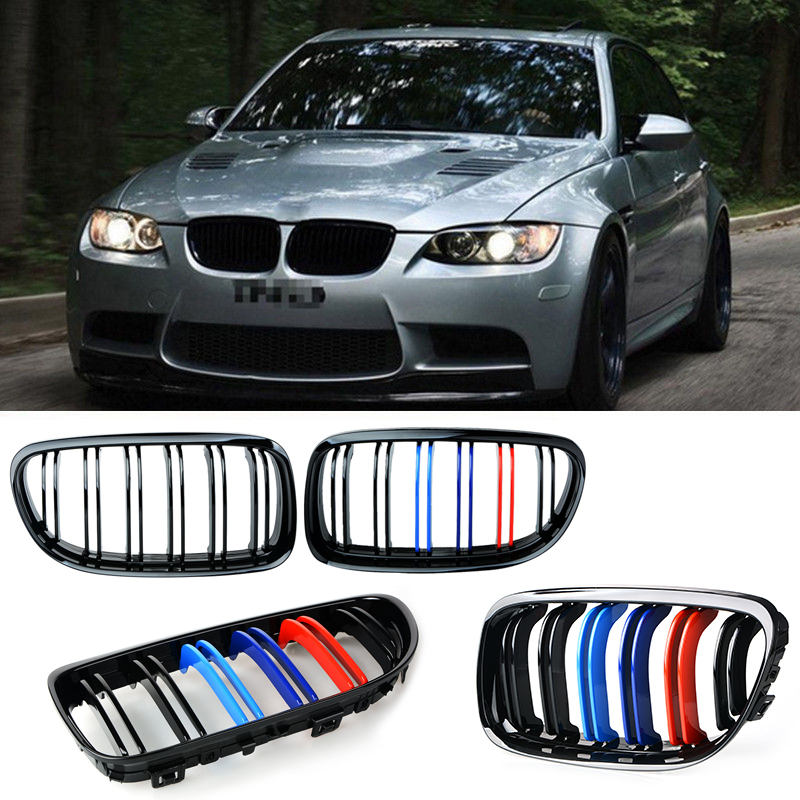 For BMW E90 Pair of Gloss Black M-color Car Front Grille Grilles with Double Line 2007 2008 2009 2010 2011 2012 sugeryy 1 pair car style matte black 3 color front center kidney racing grilles for bmw 3 series e90 e91 2009 2011 car grille
