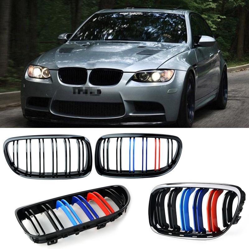 Para BMW E90 Par de Gloss Preto M-cor Da Frente Do Carro grelha Grelhas com Linha Dupla 2007 2008 2009 2010 2011 2012