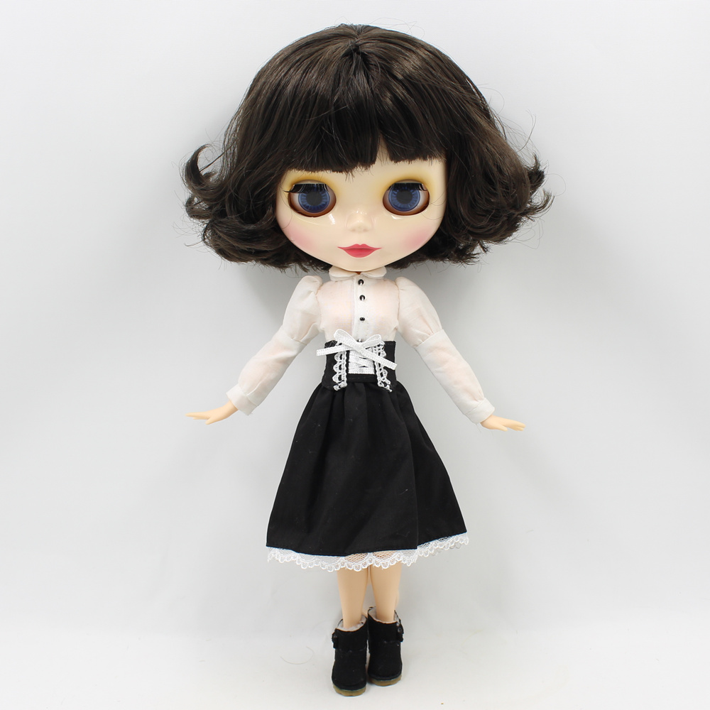 Blyth Doll Nude Black Short Hair with Joint Body blyth bjd dolls suitable DIY fashion doll toys blyth nude doll joint body with long wavy white hair 4 colors big eyes 1 6 bjd blyth dolls suitable diy makeup toys
