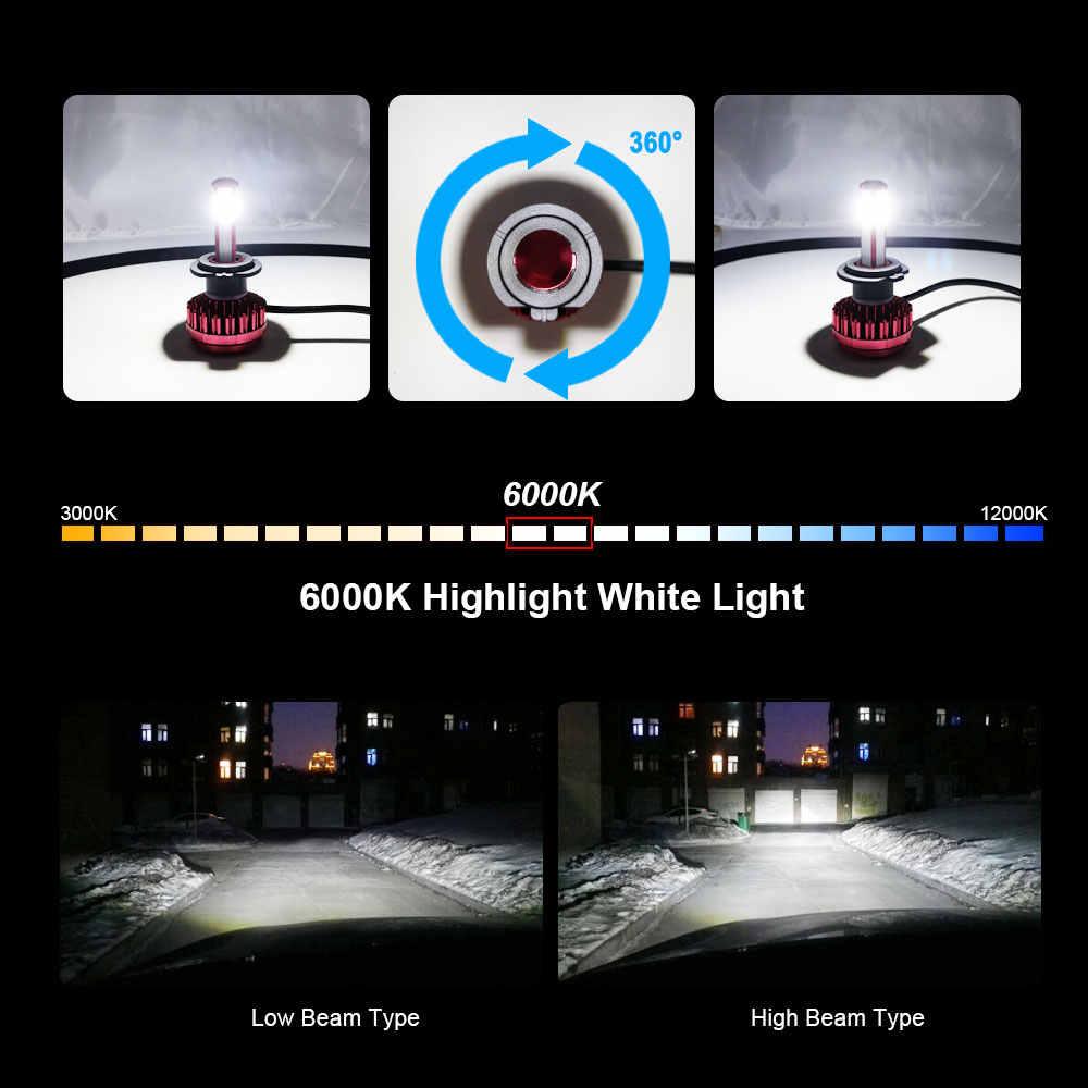 Roadsun 4 צדדים רכב פנס נורות LED H7 H4 H11 9005 9006 55W 6000K 12V 12000LM עבור שברולט דודג 'טויוטה הונדה ביואיק