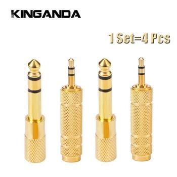 4 unids/set 3,5mm a 6,5mm 6,35mm macho a hembra adaptador de Cable de Audio 6,5 6,35 Jack a enchufe 3,5 Jack amplificador de convertidor auxiliar estéreo