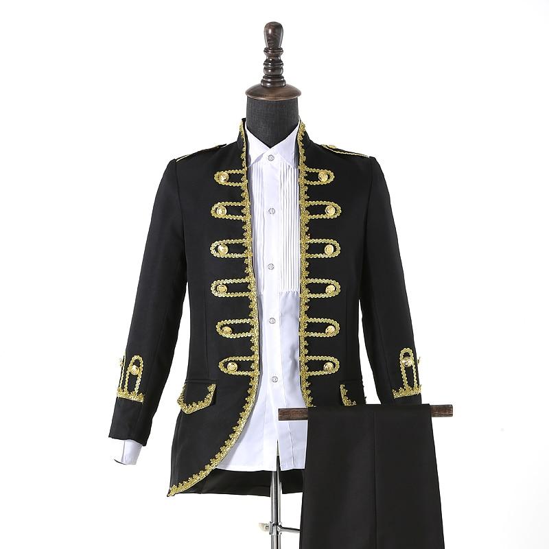 (veste + pantalon) costume masculin noir bleu blanc costumes magicien - Vêtements pour hommes - Photo 2