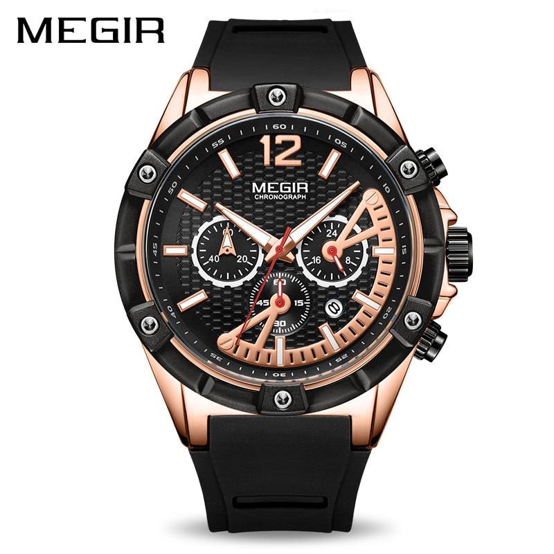 все цены на MEGIR Gold Men's Chronograph Sport Watch Men Fashion Analog Quartz Watch Luminous Hands Silicone Rubber Strap Wristwatch Clocks онлайн