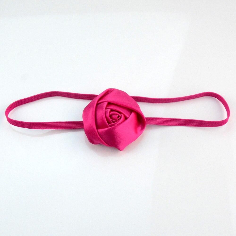 50pcs/lot Fashion Strong Elastic Headband with 5.0cm Satin Ribbon Rose Bud girl Photography Model Head Dress FDA225