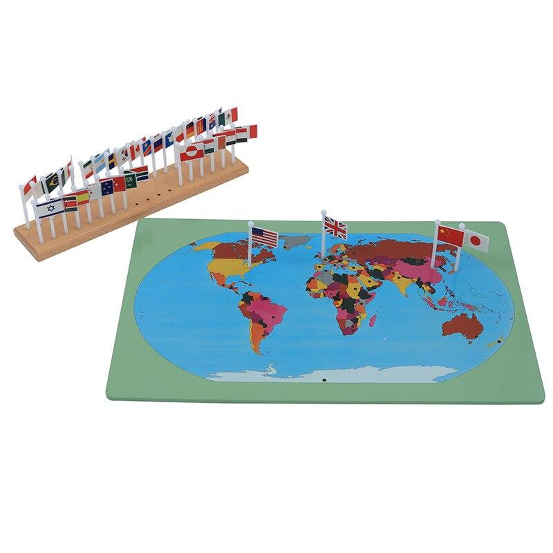Bébé jouet Montessori drapeaux nationaux apprentissage et éducation éducation de la petite enfance enfants Brinquedos Juguetes - 2