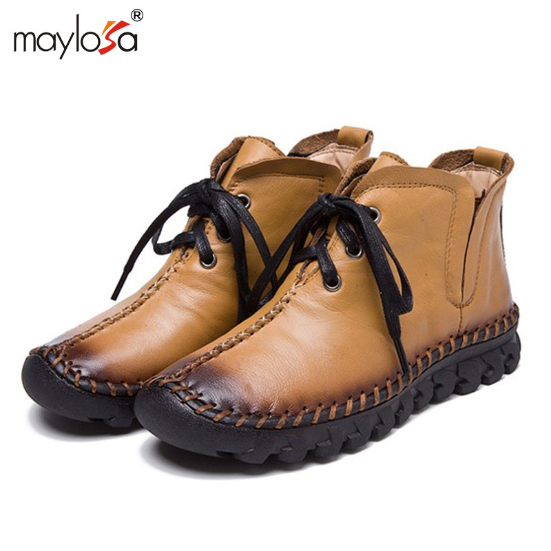 MAYLOSA New women Genuine Leather Boots Vintage Style Flat Booties Soft Cowhide Women's Shoes side Zip Ankle Boots zapatos mujer rubber cement euro winter shoes woman sleeve side zip chains riding genuine leather boots women solid color cowhide flat with
