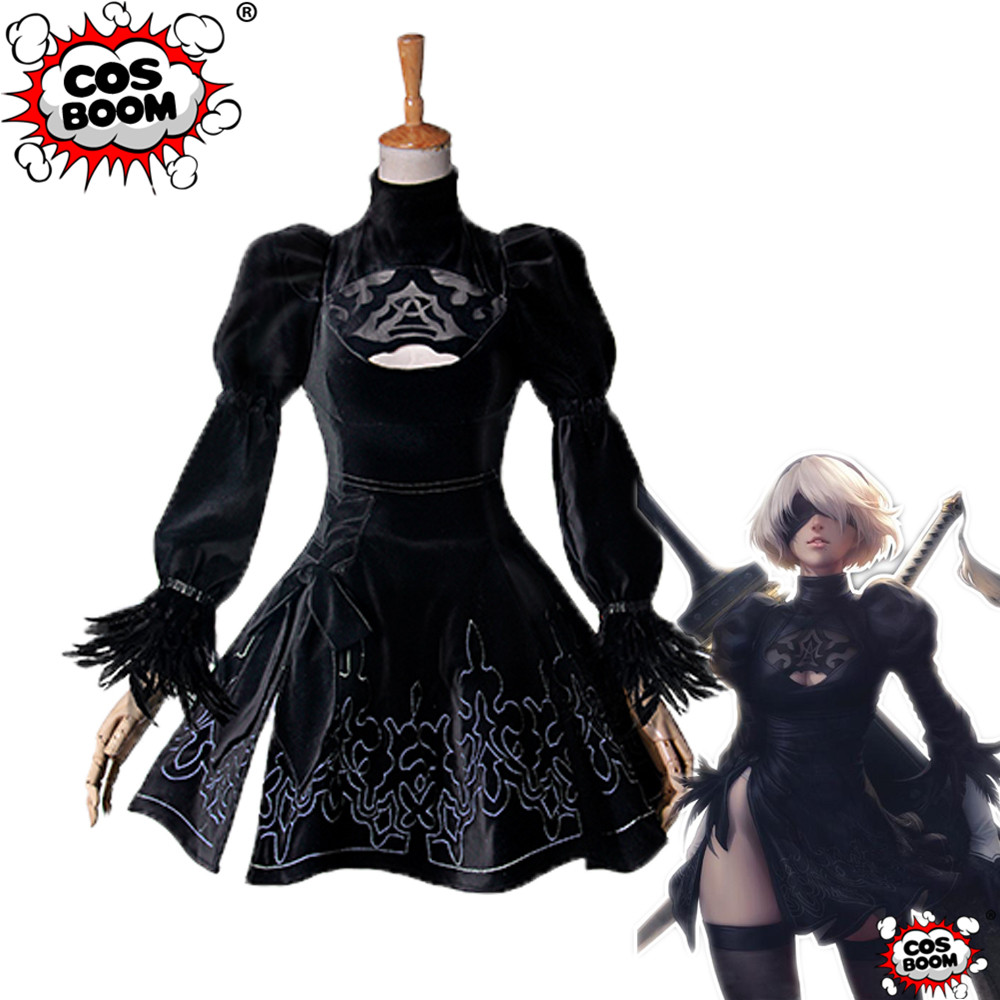 COSBOOM NieR:Automata 2B Cosplay Costume Halloween Women's YoRHa No.2 Type-B Fancy Dress Game Outfit Custom Made