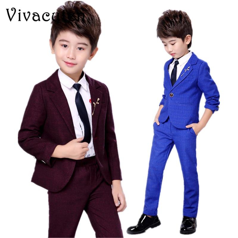 Gentleman Suit 2pcs Handsome Kids Boys Wedding Party Suit Coat+Pants Clothes Set