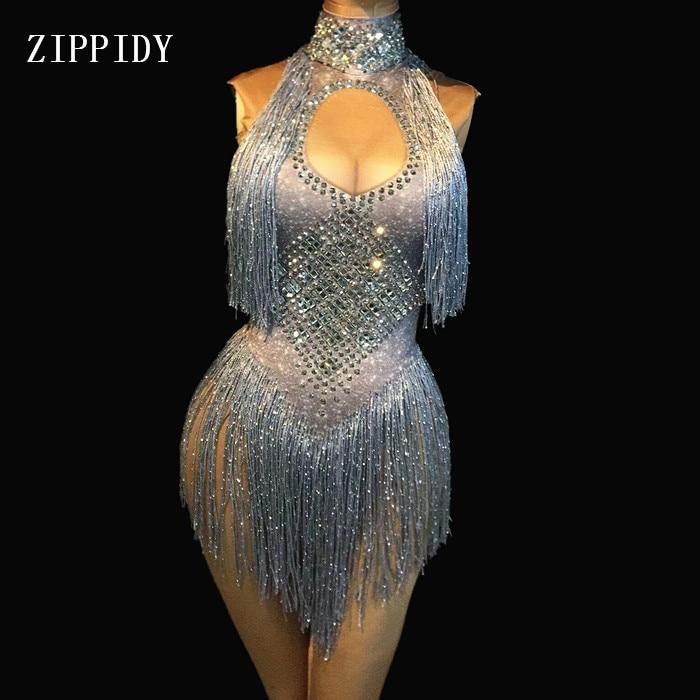 4 Colors Sparkly Rhinestones Tassel Leotard Nightclub Dance DS Show Stage Wear Stretch Bodysuit Party Female