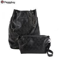 2pcs Vintage Women PU Leather Tote Handbag Fashionable Skull Pattern Clutch Bucket Casual Ladies Composite Shoulder