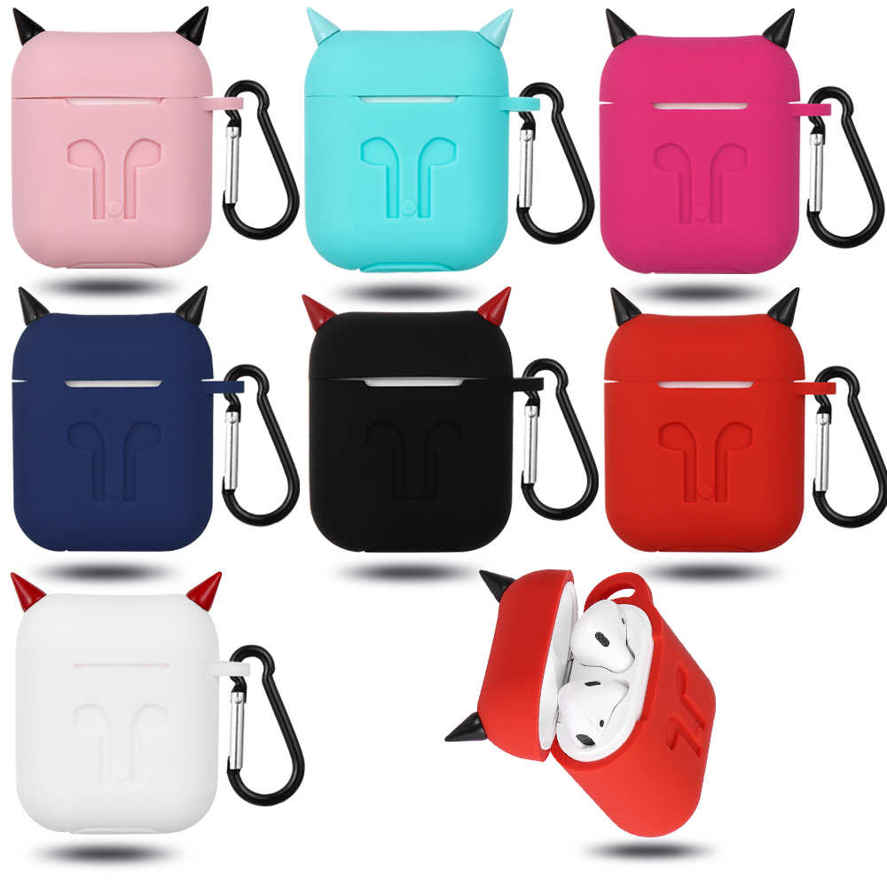 Cute Silicone TPU Bluetooth Wireless Earphone Case Fashion Protective Cover for Apple Airpods Charging Box with Hooks