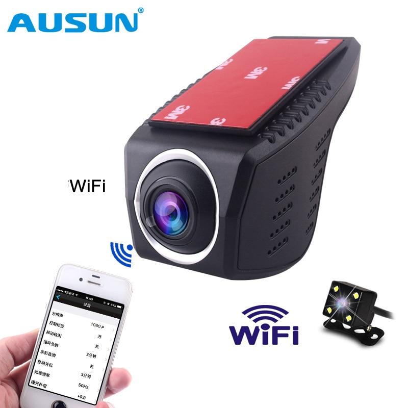 WIFI HD Car DVR two cameras Dual Lens Video Recorder car cameras Dvr App Control Loop video Rear view Camera Night Vision 1080P цена