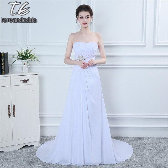 Без бретелек драпировка шифон Белый Онлайн свадебное платье простой Стиль церковь/сад свадеб Свадебное платье вечернее платье Longue