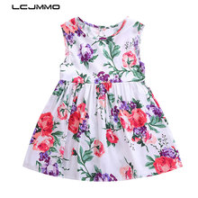 LCJMMO 2018 Summer Style Floral Girls Dress Print Princess Dresses For Baby Girls Designer Formal Party Dress Kids Clothes 1-6Y