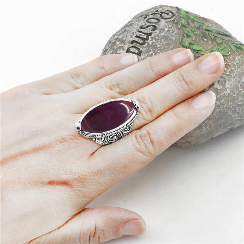 รูปไข่สีแดงเข้มโอปอลสร้อยคอต่างหูแหวนชุดเครื่องประดับสำหรับผู้หญิงเงินชุบโบราณจี้สแตนเลสโซ่ของขวัญ