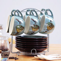 Cup 6 dish 6 spoon hand painted coffee cup set creative European personality home ceramic coffee cup set dd005