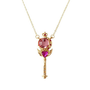 Anime Sailor Moon Loving Wand Crystal cosplay Pendant Necklace Girl accessories Cute props A658