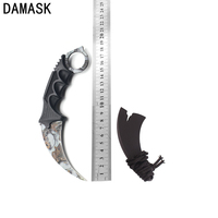 Hot Sale Damask Staninless Steel CSGO Counter Strike Knife Fighting Survival Knife Camping Tools Ashy Scenery