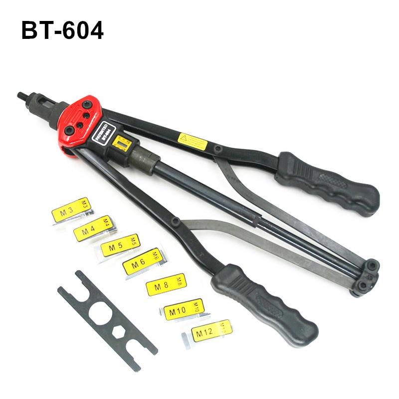 free shipping hand riveter pull rivet nut riveting tools with nut setting system M3/M4/M5/M6/M8/M10/M12M BT-604 carton package akg pae5 m