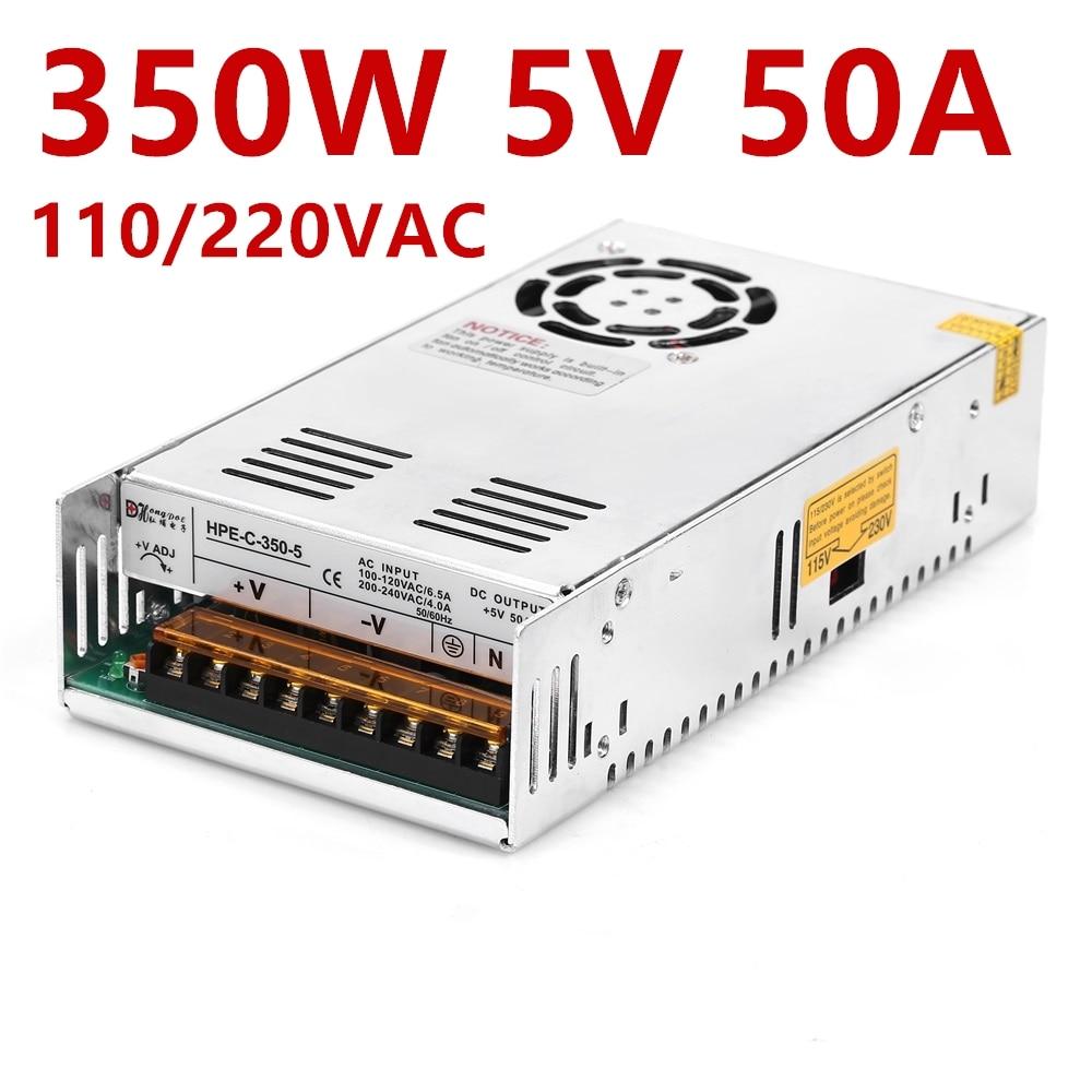 1PCS New Industrial Grade 350W 50A 5V power supply 5V 50A 350W 110-230V 5V 50A 100-240VAC цена