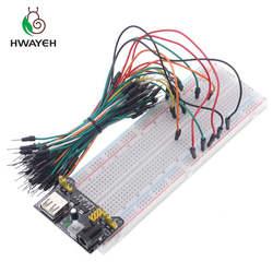 3,3 В/5 В MB102 макет модуля питания + MB-102 830 точек Solderless Прототип Хлеб доска комплект 65 гибкие перемычек