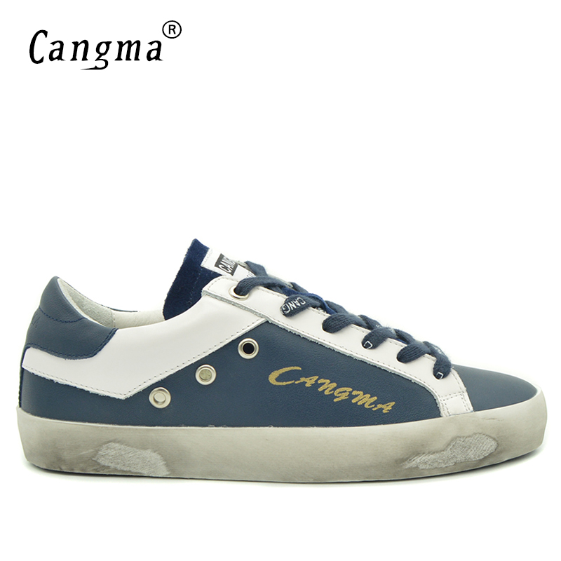 CANGMA British Brand Shoes Men Sneakers Vintage Navy Blue Man Shoes Leather Genuine Male Shoe Adult Casual Latest Footwear 2017