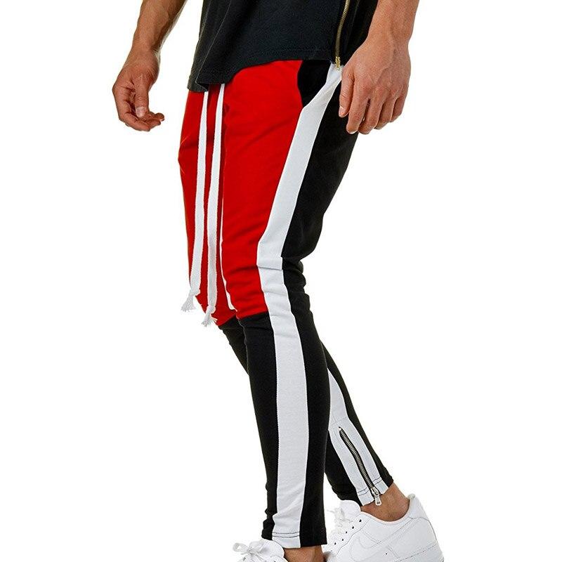 Personality Zipper Slim Track Pants Men Elastic Waist Cotton Patchwork Hip Hop Pants Men Sweatpants Pocket Jogger Pants For Male