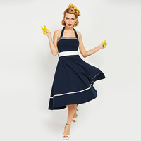 Sisjuly 1950s 60s Vintage Dresses Summer Mid Calf Women Dark Blue Strapless Dress 2017 Backless Halter