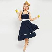 Sisjuly 1950s 60s Vintage Dresses Summer Mid Calf Women Dark Blue Strapless Dress 2017 Backless Halter