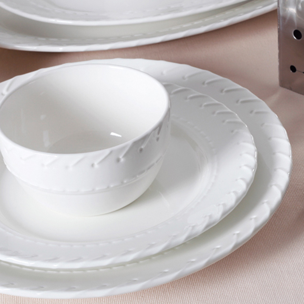 Durable Pure White Ceramic Dinner Plated Dishes Handmade 8.5 ...