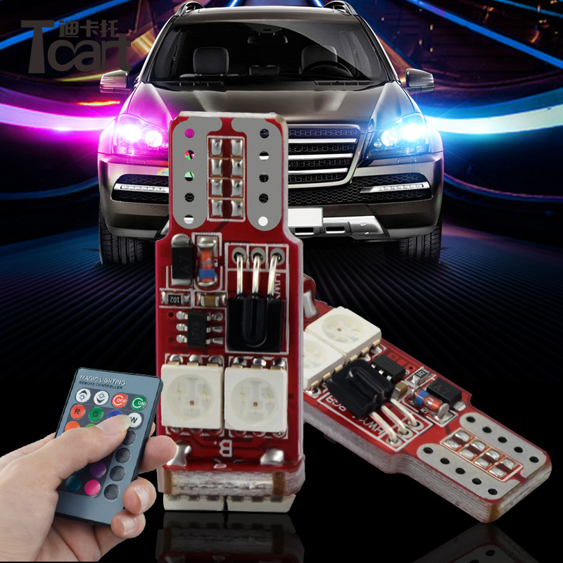 Tcart 1Set New Auto Led RGB Bulbs T10 5050 LED w5w Universal RGB License Plate Lamp Car LED Clearance Lights With Remote Control