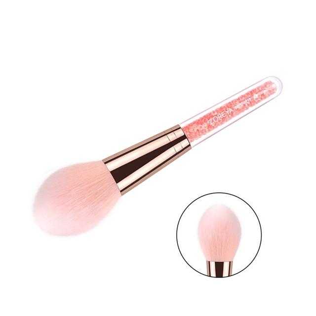 ZOREYA marca nueva llegada belleza manija de cristal maquillaje Blush brocha Super suave pinceles de maquillaje oro rosa cepillos cosméticos herramienta