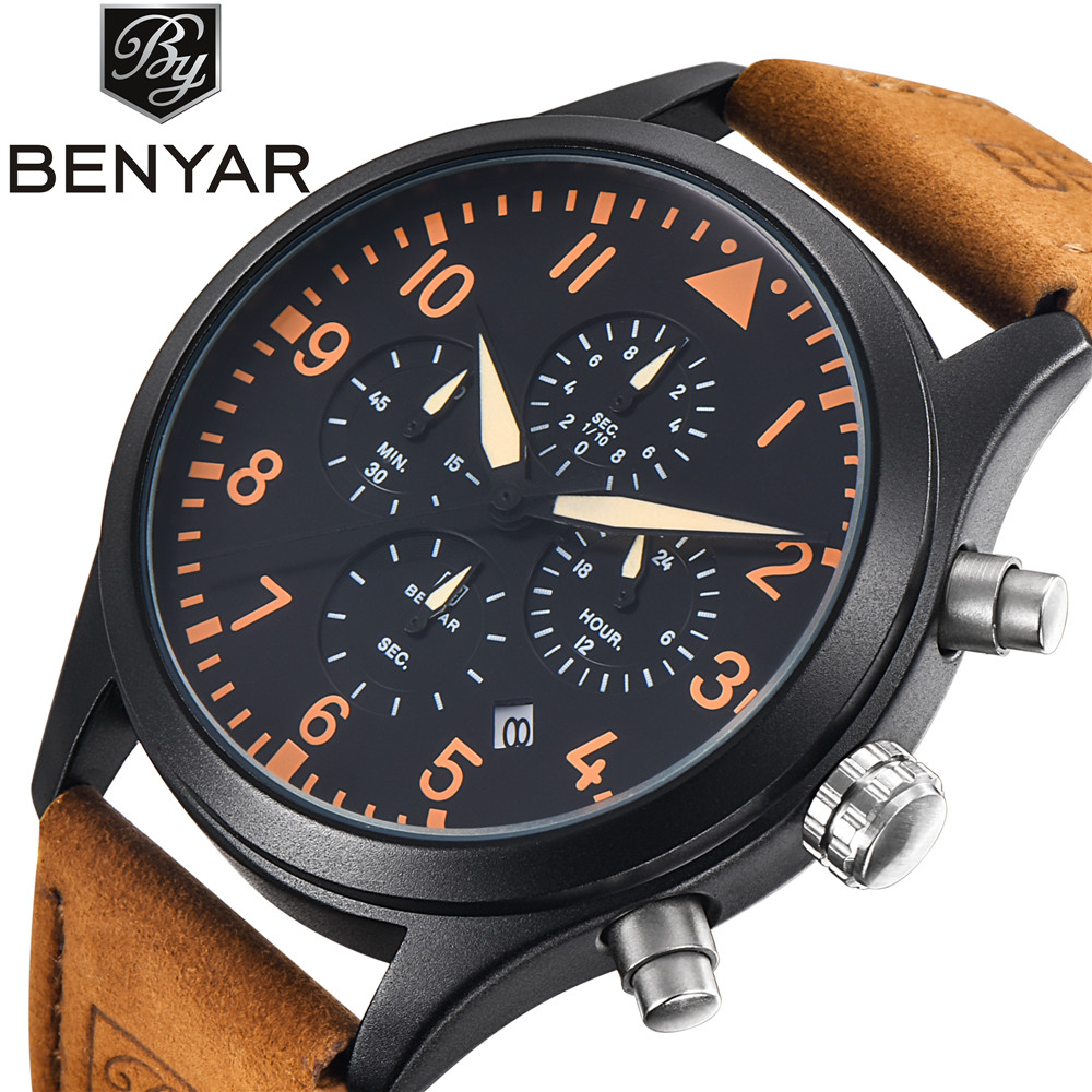 Luxury Brand BENYAR Waterproof Genuine Leather Fashion Sports Watches Men's Date Quartz Watch Men Clock Relogio Masculino 2016 2016 relogio masculino watches men luxury brand pagani genuine leather quartz watch multifunctional fashion men s sports clock