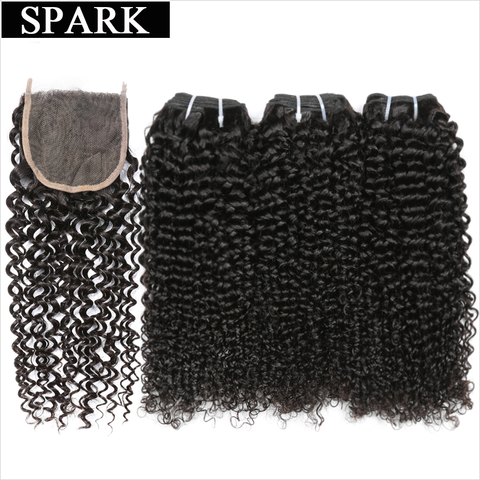 Spark Human Hair Brazilian Afro Kinky Curly Weave Bundles 3 Bundles With Closure Remy Human Hair Extensions  Hair Weaving