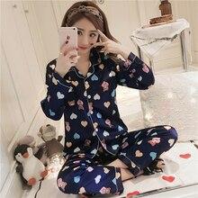 2019 Long Sleeve Silk Pajamas sets for women Spring Women Summer sleepwear suit Pijama Sleepwear Pyjamas Plus Size Nightwear Set