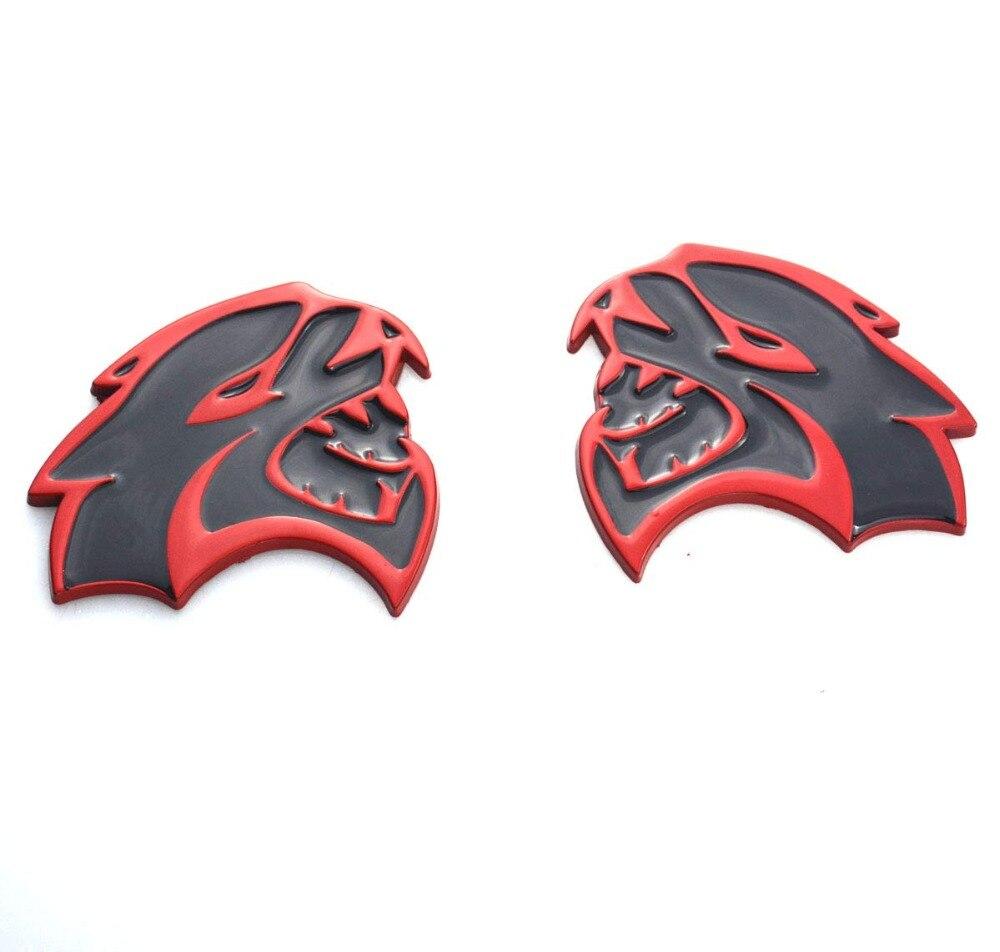2X  Set RED Metal HELLCAT EMBLEMS Badge for  Mopar Dodge Challenger Charger HEMI