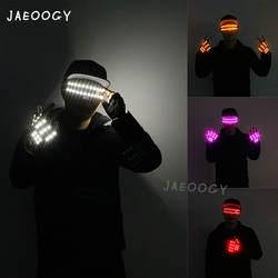 Бесплатная доставка перчатки со светодиодами этап DJ спектакль светящиеся очки Хэллоуин ночное, уличное флуоресцентные танцы огни костюм