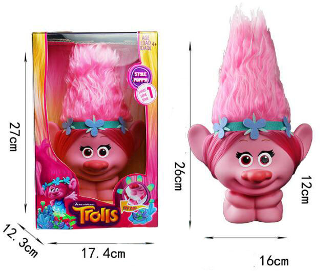 Movie Trolls Figure Poppy Vinyl Touch Light Action Figure Toy 2017 New Big Trolls Doll Pobby Birthday Party Decoration ...