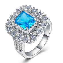 Huitan Luxury Plant Wedding Ring Band Vintage Flower Cocktail Party Finger Ring With Sky Blue Cubic Zircon Stone Elegant Jewelry huitan luxury cocktail party ring creative wings pattern design vintage deep blue cubic zircon stone prong setting female ring