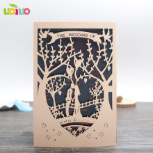 INC55 kiss on love bridge HOT design color black 250gsm pearl paper laser cut wedding invitation card wholesale