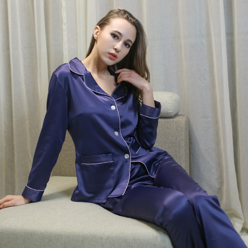 Blue silk long sleeve cloth + long pants home wear women nightwear pajamas set with turn-down collar high quality drop shipping
