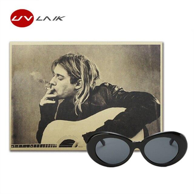 9736c43fb Clout UVLAIK Óculos Óculos Homens Mulheres Branco Oval Óculos De Sol com Kurt  Cobain Nirvana Kurt