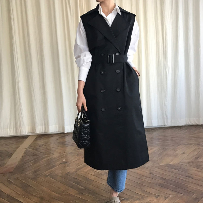 SuperAen 2019 Korean Style   Trench   Coat for Women Spring and Autumn New Casual Wild Sleeveless Windbreaker Female