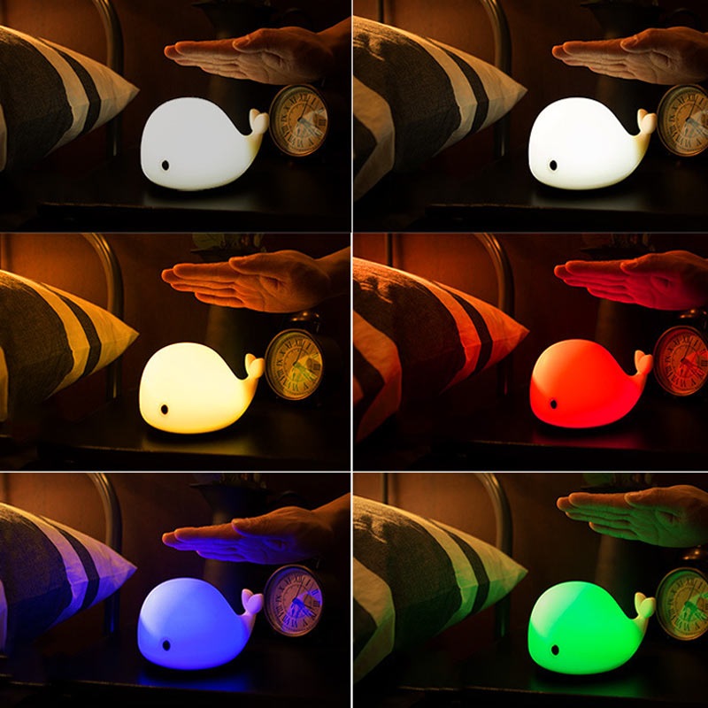 Cute Dolphin LED Night Light Colorful USB Rechargeable Sensitive Tap Control Night Lamp for Bedroom Baby Nursery ALI88
