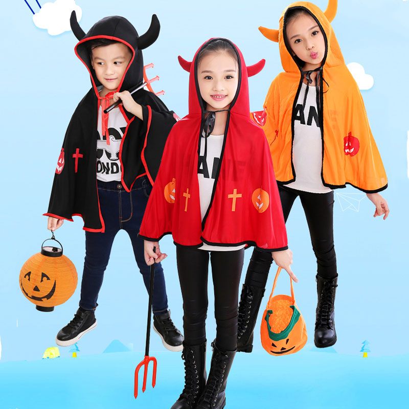3 цвета Хэллоуин призрак фестиваль демон халат Детская накидка с шляпа Рог плащ Ангел Дьявол Хэллоуин Косплэй костюм + реквизит